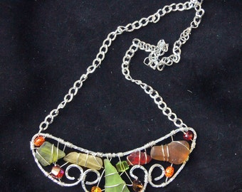 Sea Glass Statement Necklace in the Colors of Fall