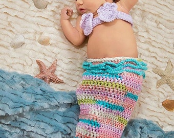Newborn Turquoise Pink and Lavender Mermaid Costume, 0 to 3 month Mermaid Tail Photo Prop