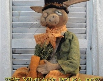 EPATTERN Primitive Folk Art Easter Bunny Rabbit Doll