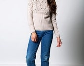 The Vintage Beige Wool Flower Sweater