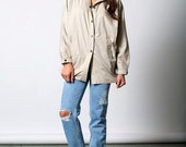 The Vintage Beige Cream Dolman Sleeve Windbreaker Jacket