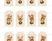 Reindeer Christmas Tags DIY Digital Download vintage printable gift tag card holiday xmas christmas gift tags deer image antlers ornament