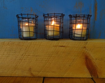 Candle Holder, Votive, Set  Handmade In Woven Steel Wire