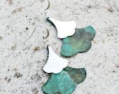 Bohemian Earrings, Patina, Leaf, Teal, Dangle, Silver, Verdigris, Bohemian Wedding, Rustic, Verdigris. Modern, Gift for Her, Women's
