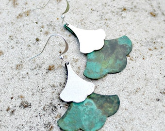 Bohemian Teal Patina Leaf Earrings -  Silver, Verdigris