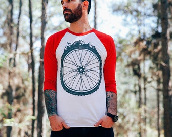 Bicycle Wheel and Mountains -  American Apparel Baseball TShirt - Available in XS, S, M, L, Xl and Xxl