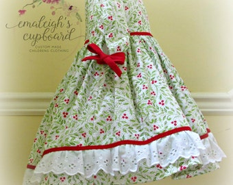 Girl Christmas  lace dress Merry Mistletoe fabric red green white eyelet holiday