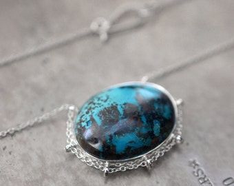 Vibrant, path setting no. 2…chrysocolla in sterling silver necklace