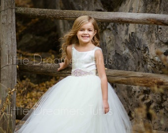 NEW! The Ella Dress in Ivory with Deluxe Rhinestone Sash