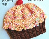 Cupcake Hat with Cherry on Top Dark Chocolate Cake with Dreamsicle Orange Frosting Sprinkles Age 8-Adult READY TO SHIP hand knit