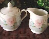 Victorian Rose by Saltera 1985 Himark Sugar Bowl and Creamer