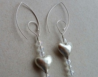 heart crystal earrings