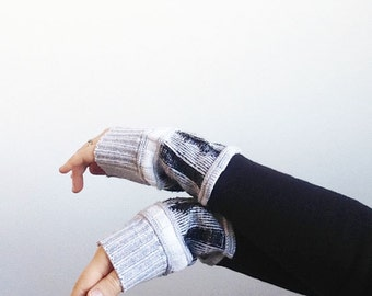 Black Arm Warmers Long, Sweater Fingerless Gloves, Black Texting Gloves, Fleece Arm Warmers, Gifts Under 25 for Her, Organic Cotton Gloves