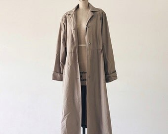 Vintage 1980s Belted Khaki 3/4 Length Trench Coat - L