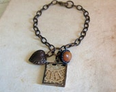 Lace Button Charm Bracelet Bohemian Rustic Jewelry Mothers Day