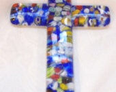 4 Inch Large Colorful  Milliflori Glass Cross Pendant