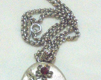 Whiting And Davis Locket with Red Rhinestone Flowers and Chain