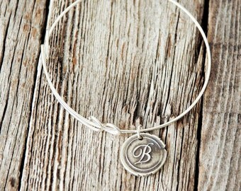Bangle Bracelet with Wax Seal Monogram | Sterling Silver
