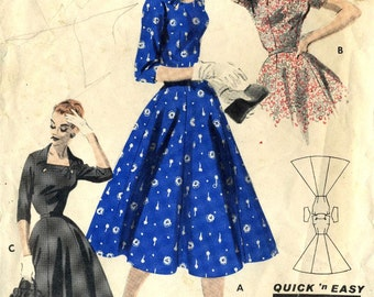 Vintage 50s Butterick 7615 Misses Quick and Easy Graceful Dress with Shutter Neckline Sewing Pattern Size 20 Bust 38