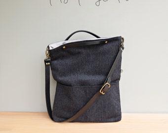Convertible Herringbone Tote in Black, Convertible Purse, Chenille Messenger Purse, Foldover Bag, Business Tote, Plus Size Leather Strap