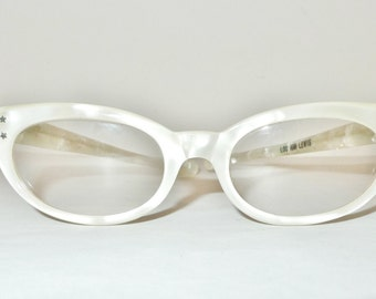 Pearly Cat Eye Glasses Off White Vintage 50s 60s CatsEyes Frame France. Winged Eyeglasses Sunglasses MCM Optical Midcentury Sale