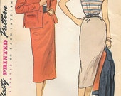 Simplicity 8474 1950s Travel Ensemble Slim Skirt Jacket and Blouse Vintage Sewing Pattern Bust 32 Boxy Jacket Wiggle Skirt