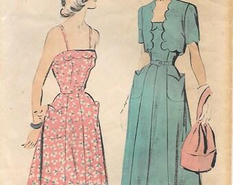 Advance 5180 1940s Lovely Sundress with Scalloped Bolero Vintage Unprinted Sewing Pattern Size 12 Tulip Pockets