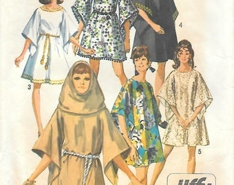 Simplicity 8190 1960s Jiffy Mini Angel Dress with Hood Vintage Sewing Pattern Medium Bust 34 to 36 Mod Mini Dress Fabulous!
