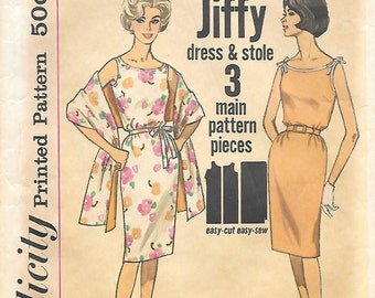 Simplicity 4471 1960s Jiffy Fitted Sleeveless Dress and Stole Vintage Sewing Pattern Size 14 Bust 34 Wiggle Dress Mad Men