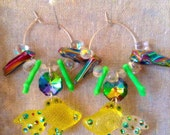 Koi Fish Chandelier Earrings - Mermaid Jewelry - Mermaid Earrings - Fish Jewelry - Ocean Jewelry - Plastic Charm Jewelry - Lucite Jewelry