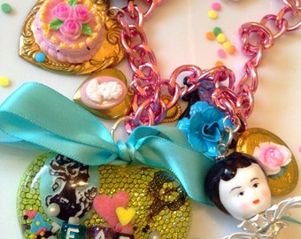 Eat Cake Necklace - Marie Antoinette Necklace - Cake Necklace - Kawaii Jewelry - Pastel Jewelry - Cameo Necklace - Charm Necklace