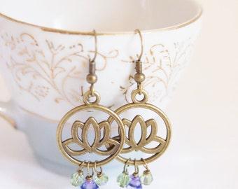 lotus flower earrings, yoga jewelry, flower lotus earrings, bronze lotus, noibium earrings
