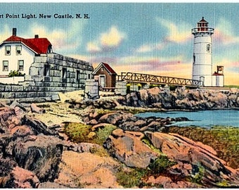 Vintage New Hampshire Postcard - Fort Point Light, New Castle (Unused)