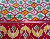 Indian Sari Fabric By The Yard, Ikat Print Border Saree, Sheer Cotton Saree Fabric, Belly Dancing Costume Fabric, Scarf Making Fabric