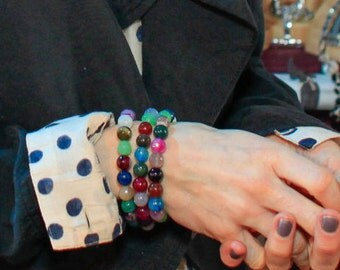 As Seen On Sally Hawkins Arm Candy Bracelet Faceted Agate Rainbow Gemstones Stacking Stretch Bracelet Couture Hollywood Style by Mei Faith