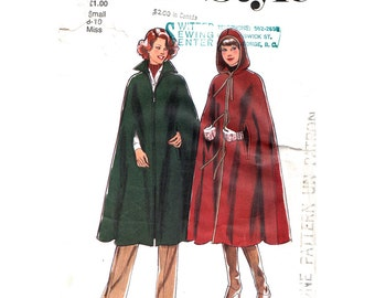 1970s Vintage Cape Pattern Style 2086 Womens Long Cape With Collar Hooded Cloak Arm Openings Womens Sewing Pattern Size 8 10