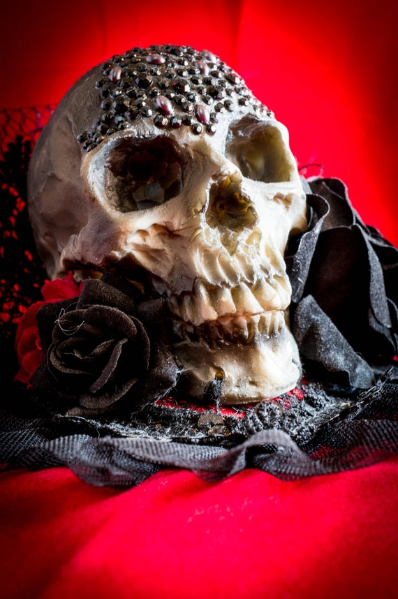 Day of the Dead headdress Human Skull Steampunk Mini Top Hat gothic roses