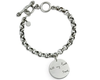 Custom handwriting charm bracelet  - actual writing on silver charm bracelet - personalized engraved jewelry - up to 20 letters