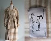 Vintage 1960s Coat - Luxe Cream and Beige Plaid Cashmere Wrap Coat - 60s Regency Cashmere Coat M L
