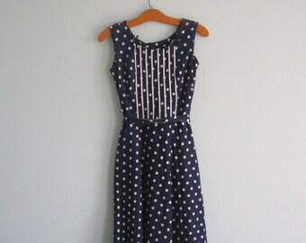 Vintage 40s Navy Polka Dot Cotton Sundress - Pretty Cotton Dress by Simplicity Frock - Vintage 1940s Dress S