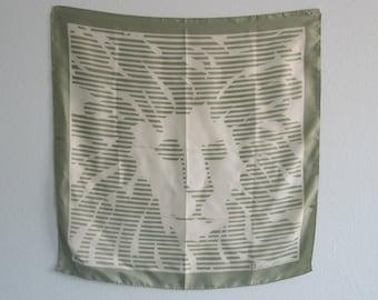 Vintage Anne Klein Sage Green Scarf with Signature Lion Print - Gorgeous 80s Designer Silk Scarf - Vintage 1980s Silk Scarf