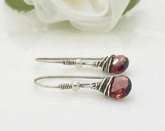 Garnet earrings in sterling silver, Small wire wrapped oxidized dark red african garnet earrings