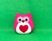 Cute Owl Plush - Pink and Red Felt Woodland Animal - New Baby Gift - Woodland Nursery Decor - Valentines Day Gift - Owl Decor
