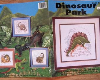 vintage 1993 cross stitch patterns DINOSAUR PARK dinosaurs children boy girl