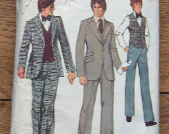 vintage 70s simplicity pattern 6374 men suit with vest sz 38