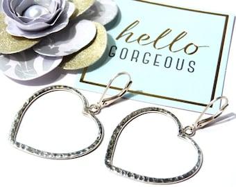 Simple Sterling Silver Hammered Heart Earrings