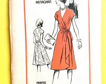 Uncut Prominent Designer M416 1970s Frances Henaghan  Misses' Wrap Dress Vintage Sewing Pattern Bust 34