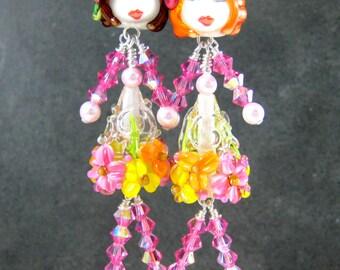 Funny Lady Earrings, Women Earrings, Friend Earrings, Sister Earrings, People Earrings, BFF Earrings, Lampwork Glass Earrings Cute Whimsical
