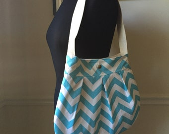 blue chevron shoulder bag // medium pleated purse with heavy shap closure // the charlie bag // READY TO SHIP