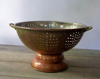 Large Vintage Copper Colander ~ Strainer ~ Vintage Kitchen Decor
